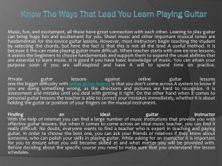 Know The Ways That Lead You Learn Playing Guitar