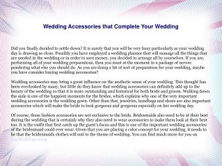 Wedding Accessories that Complete Your Wedding