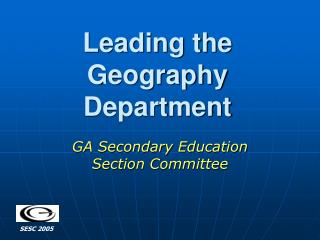Leading the Geography Department