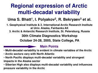Regional expression of Arctic  multi-decadal variability