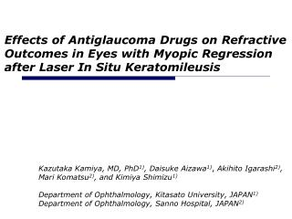 Effects of Antiglaucoma Drugs on Refractive Outcomes in Eyes with Myopic Regression after Laser In Situ Keratomileusis