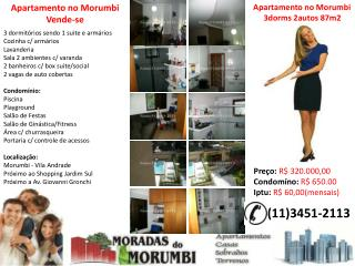 vende-se lindo apartamento no morumbi 3dorms 2autos financia