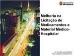 Melhoria na Licita  o de Medicamentos e Material M dico-Hospitalar