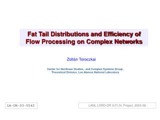 Fat Tail Distributions and Efficiency of Flow Processing on Complex Networks