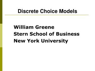 Discrete Choice Models