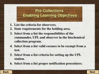 Pre-Collections  Enabling Learning Objectives