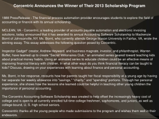 Corcentric Announces the Winner of Their 2013 Scholarship Pr
