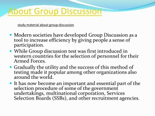 About Group Discussion