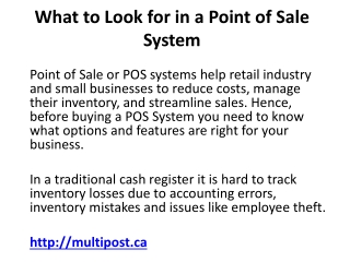 What to Look for in a Point of Sale System