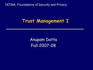 Trust Management I