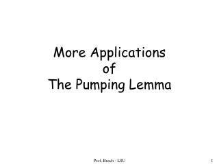 More Applications of  The Pumping Lemma