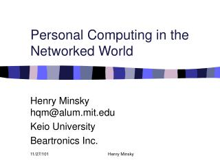 Personal Computing in the Networked World