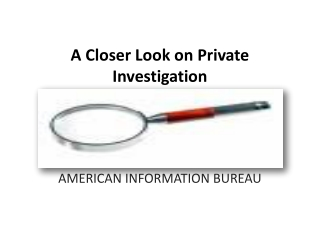 A Closer Look on Private Investigation
