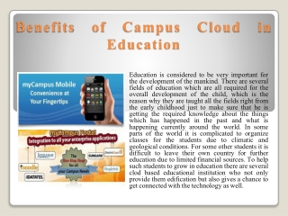 Benefits of Campus Cloud in Education