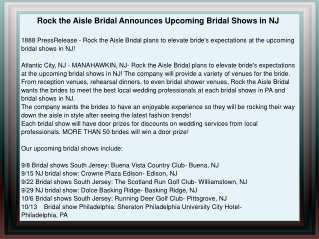 Rock the Aisle Bridal Announces Upcoming Bridal Shows in NJ