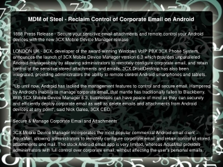 MDM of Steel - Reclaim Control of Corporate Email on Android