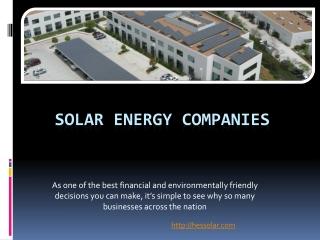 Solar Energy Companies-Solar Companies