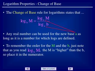 Logarithm Properties - Change of Base