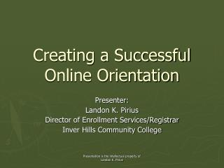 Creating a Successful Online Orientation