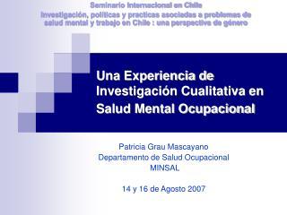 Una Experiencia de Investigaci n Cualitativa en Salud Mental Ocupacional