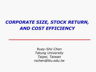 CORPORATE SIZE, STOCK RETURN,  AND COST EFFICIENCY