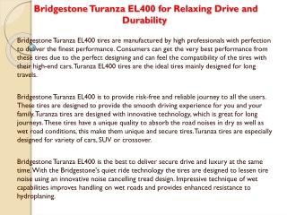 Bridgestone Turanza EL400 for Relaxing Drive and Dura