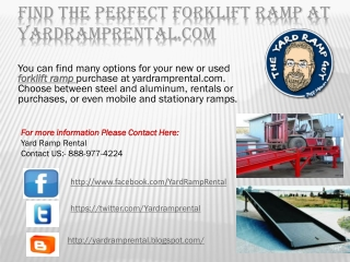 Find the Perfect Forklift Ramp AT Yardramprental.com
