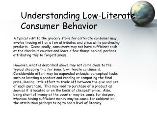 Understanding Low-Literate Consumer Behavior