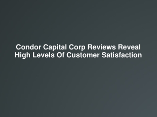 Condor Capital Corp Reviews