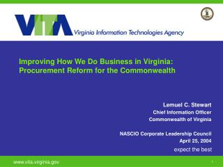 Improving How We Do Business in Virginia: Procurement Reform for the Commonwealth