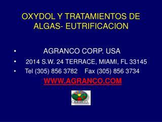 OXYDOL Y TRATAMIENTOS DE ALGAS- EUTRIFICACION