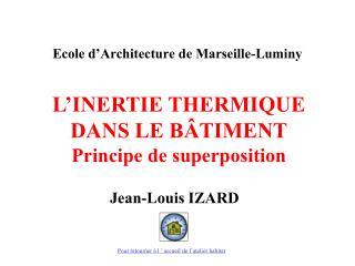 L INERTIE THERMIQUE DANS LE B TIMENT Principe de superposition