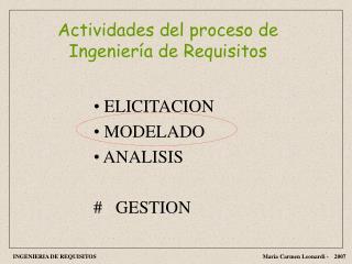 Actividades del proceso de Ingenier a de Requisitos