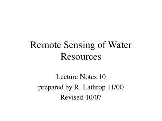 Remote Sensing of Water Resources