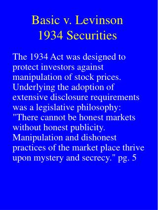 Basic v. Levinson 1934 Securities