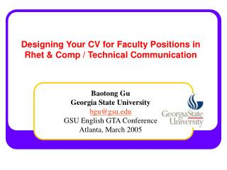 Designing Your CV for Faculty Positions in Rhet  Comp