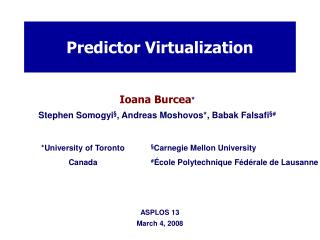 Predictor Virtualization