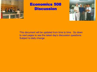 Economics 508 Discussion