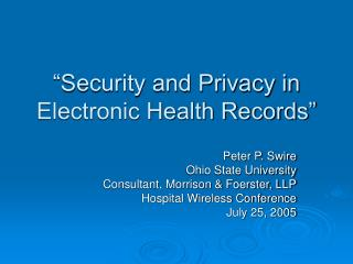 Security and Privacy in Electronic Health Records