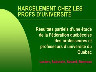 HARC LEMENT CHEZ LES PROFS D UNIVERSIT