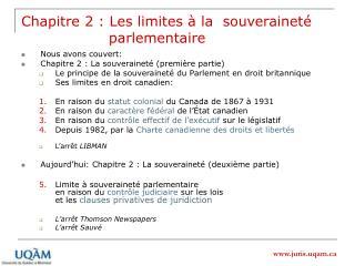 Chapitre 2 : Les limites   la  souverainet                    parlementaire