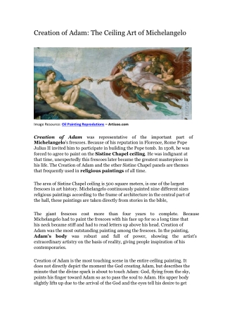 Creation of Adam: The Ceiling Art ofMichelangelo