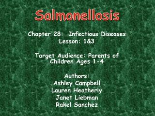 Chapter 28:  Infectious Diseases Lesson: 13  Target Audience: Parents of Children Ages 1-4    Authors: Ashley Campbell L