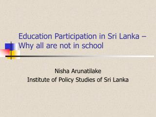 Education Participation in Sri Lanka   Why all are not in school
