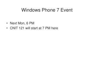 Windows Phone 7 Event