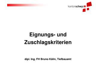 Eignungs- und  Zuschlagskriterien     dipl. Ing. FH Bruno K lin, Tiefbauamt
