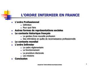 L ORDRE INFIRMIER EN FRANCE