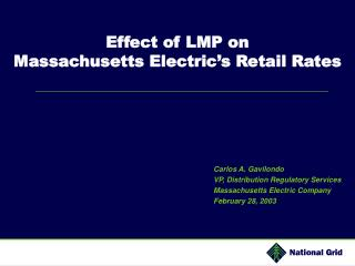 Effect of LMP on  Massachusetts Electric s Retail Rates