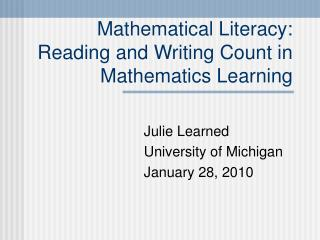 Mathematical Literacy:  Reading and Writing Count in Mathematics Learning
