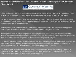 miami based international tax law firm, finalist for prestig